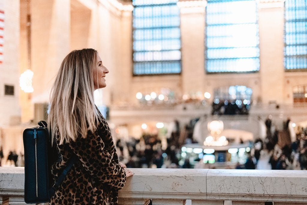 A woman in Grand Central Station NYC