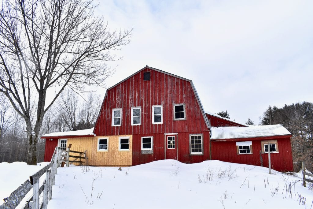 A Vermont farmhouse in the winter
