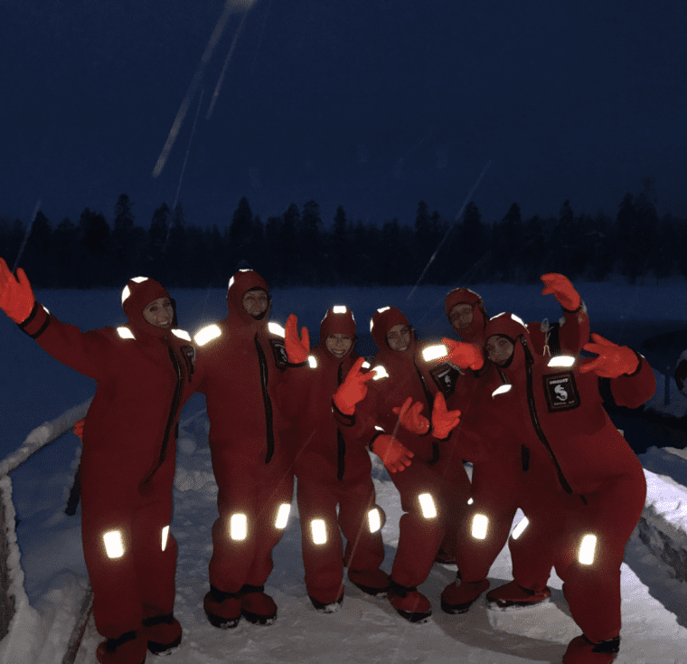 A group of people having fun in Lapland