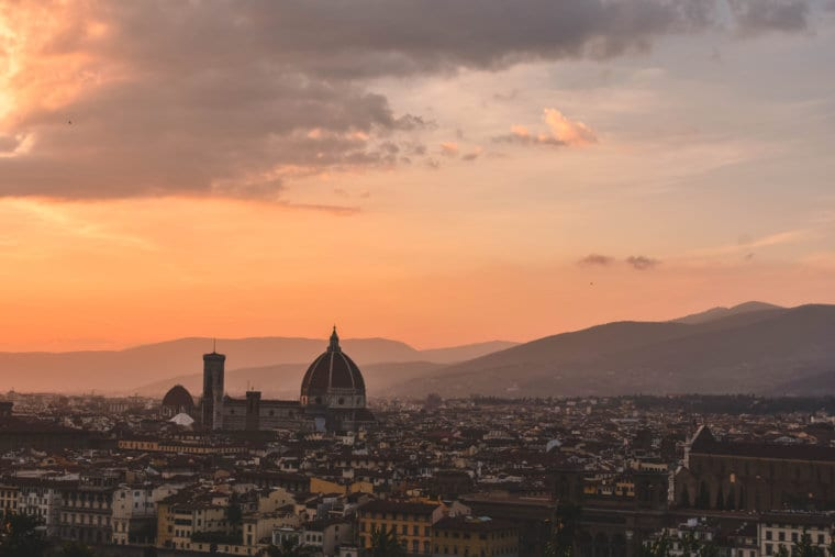 The sunset at Piazzale Michaelangelo