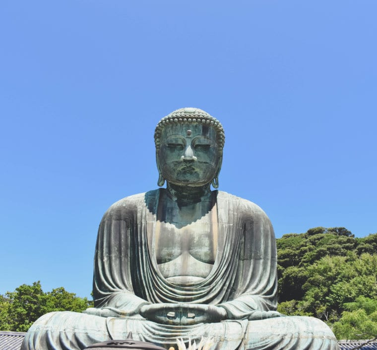 A close up photo of the Great Buddha of Kamakura, Japan