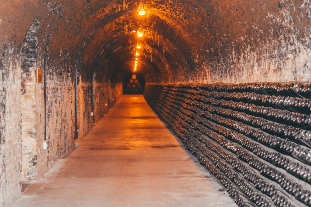 A Champagne celler in Reims, France at Champagne Lanson