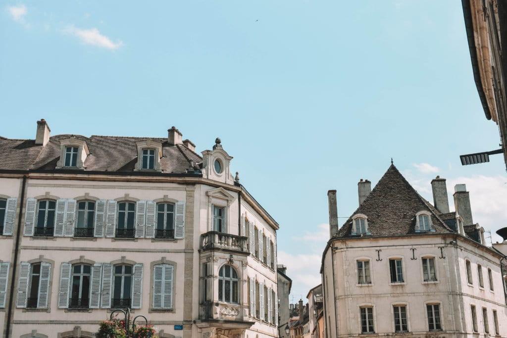 Beautiful French buildings in Beaune, France