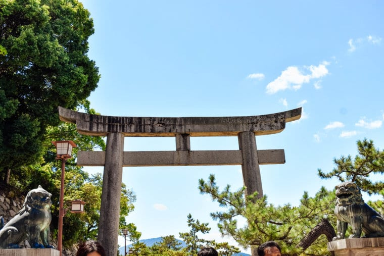 A tori gate in Miyajima, Japan
