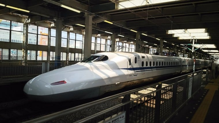 The Shinkansen train, also known as the bullet train