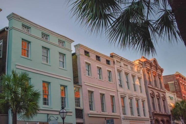 Colorful buildings on King Street in Charleston