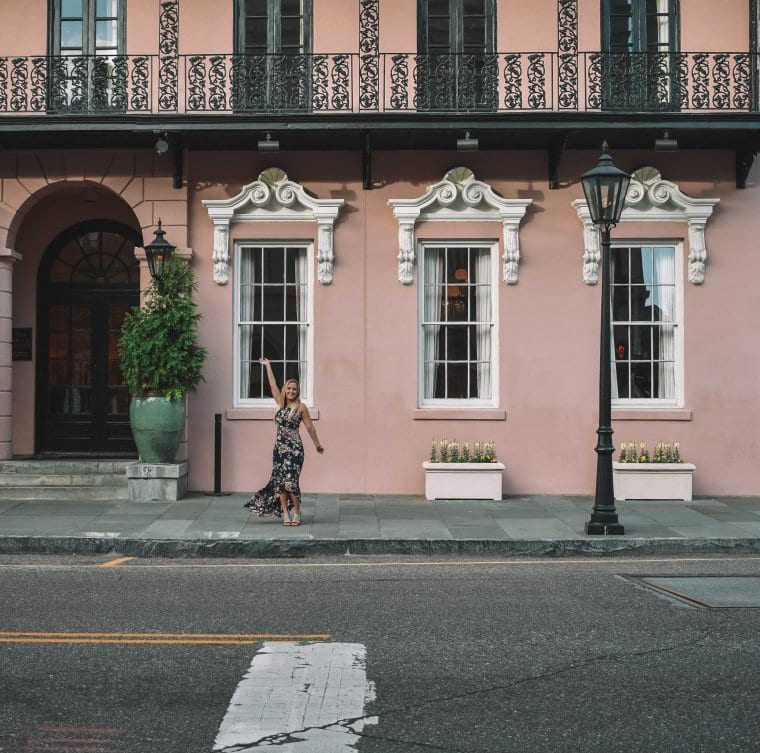 A woman staying at The Mills hotel in Charleston during vacation