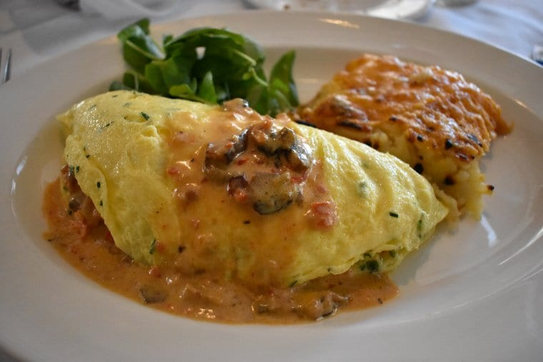 A crab omelette from a brunch spot in Charleston