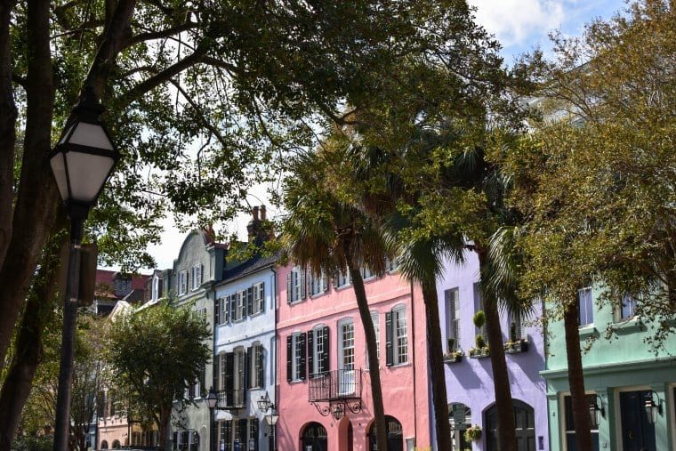 The colorful buildings of Charleston's Rainbow Row