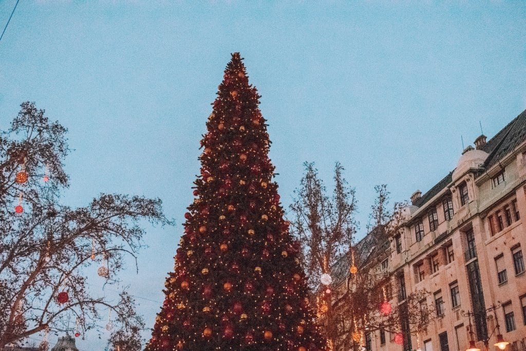 A magical Christmas tree at a Budapest market
