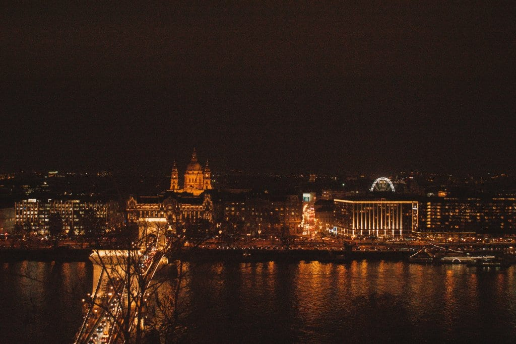 Beautiful city views of Budapest, Hungary during the Budapest Christmas markets