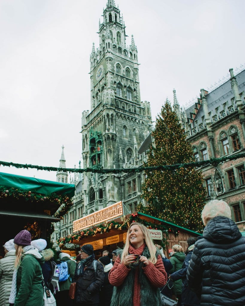 A woman on her first solo female travel experience in Munich, Germany