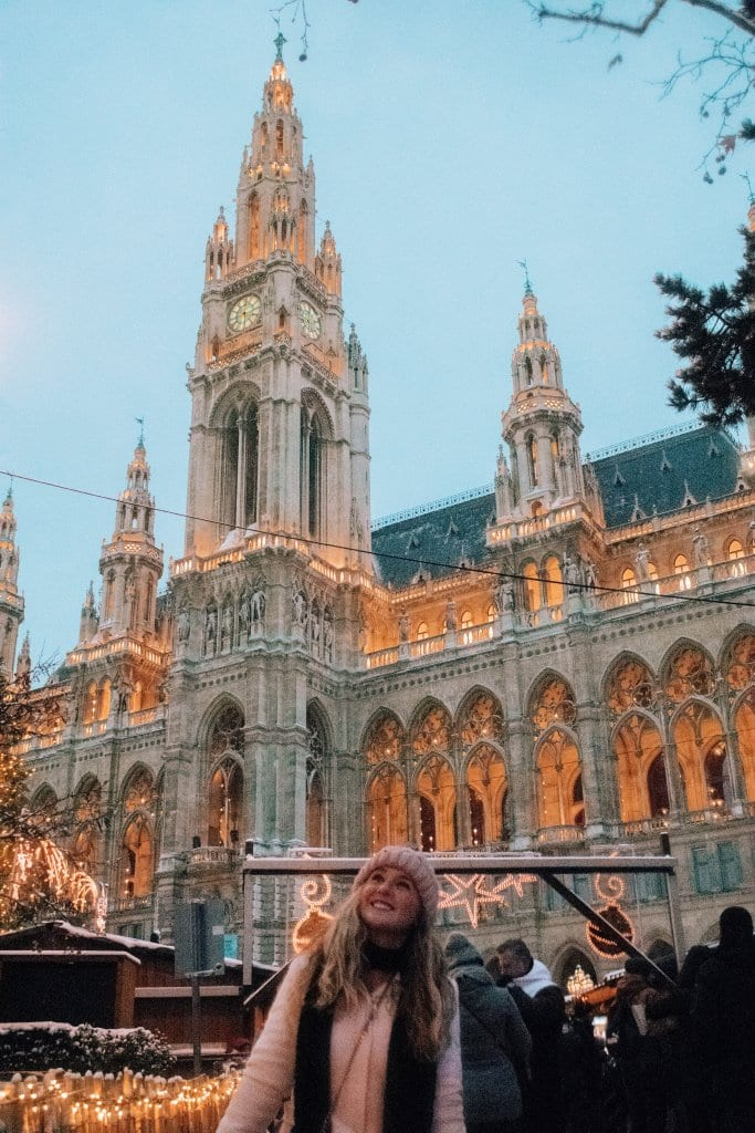 A woman enjoying the Christmas magic at the Vienna Christmas markets