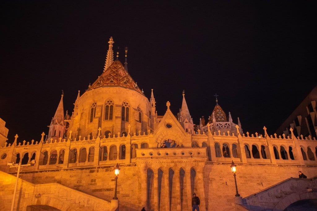 Fisherman's Bastion at night during the Budapest Christmas markets