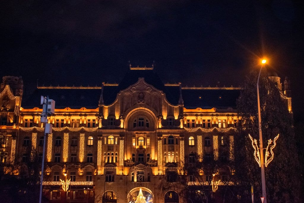 A beautiful building decorated for Christmas in Budapest