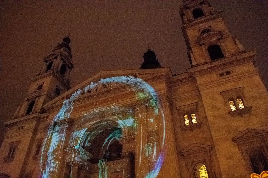 A magical light display show at the Budapest Christmas markets
