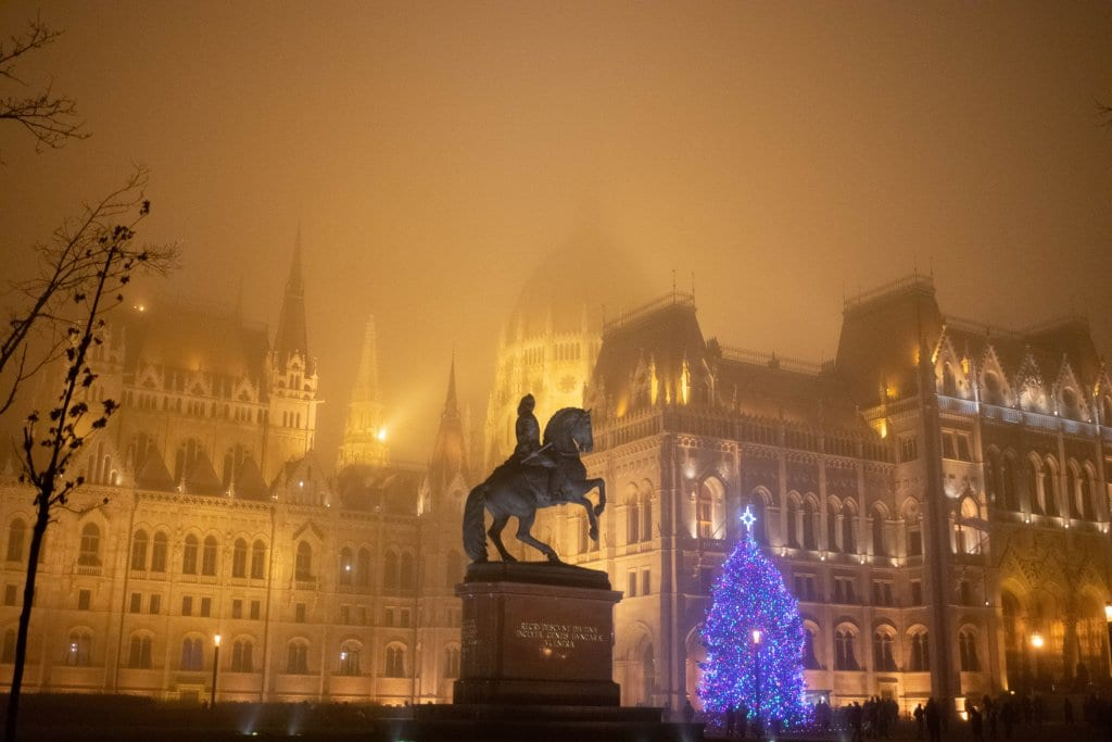 Stunning foggy views of the Parliament Buildings during the Budapest Christmas markets