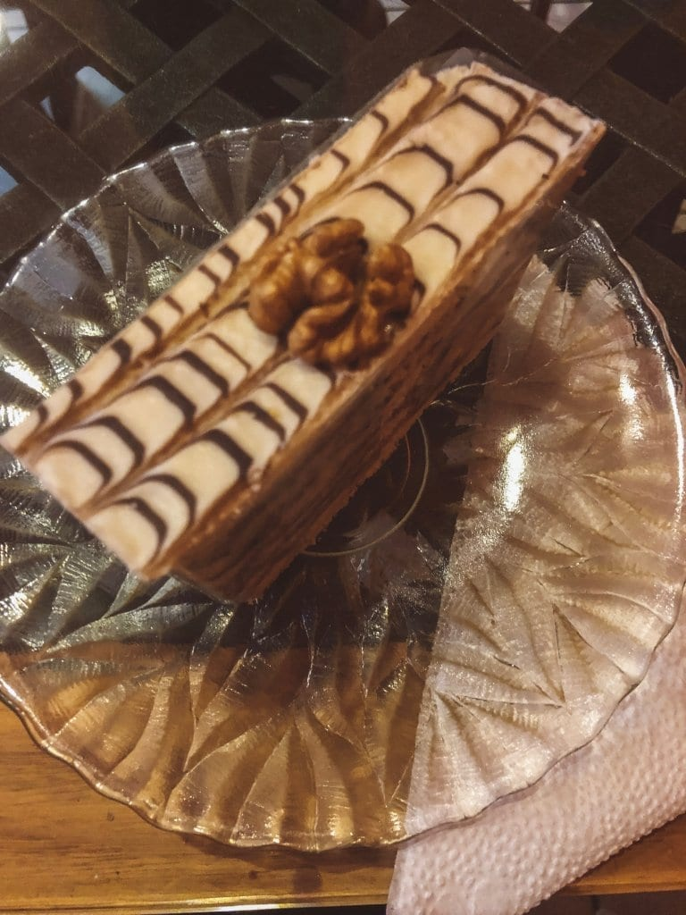 A walnut kosher cake from a cafe in Budapest's Jewish Quarter during Budapest Christmas markets
