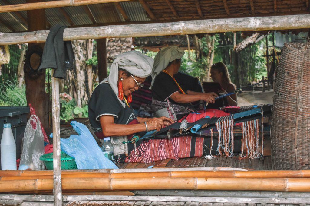 Women making blankets in Northern Thailand