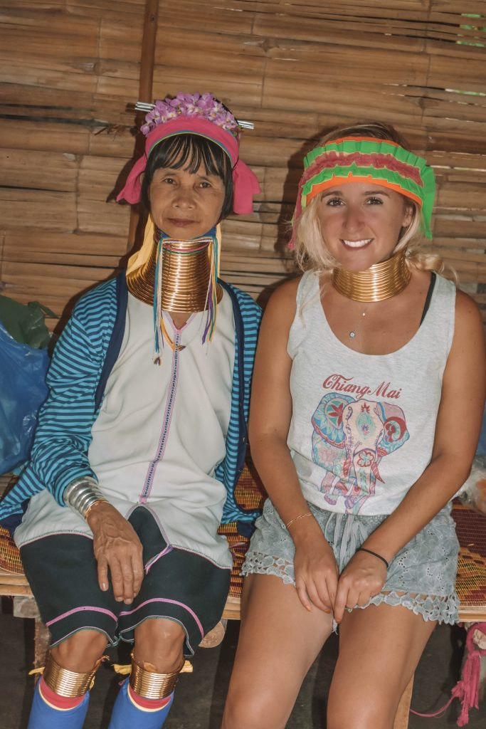 Kayan tribal woman in a photo with a female traveler