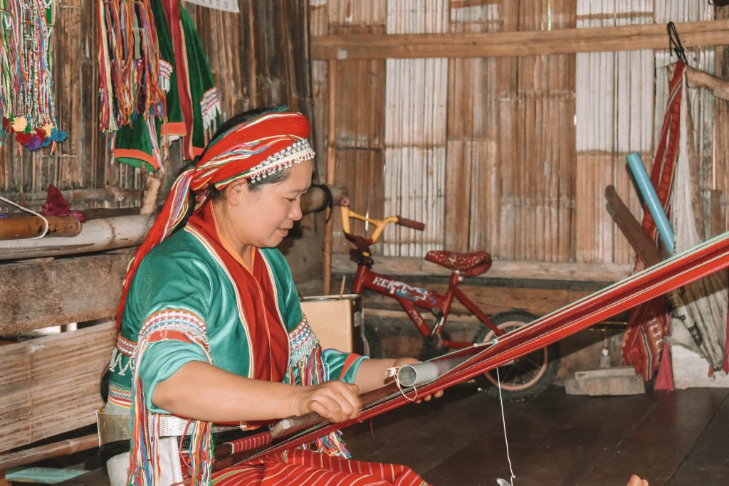 A woman making a blanket in Chiang Mai