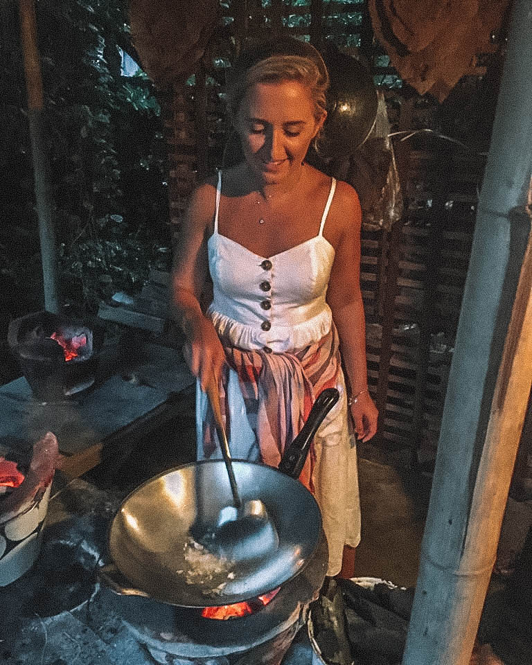 A woman cooking pad Thai in Chiang Mai