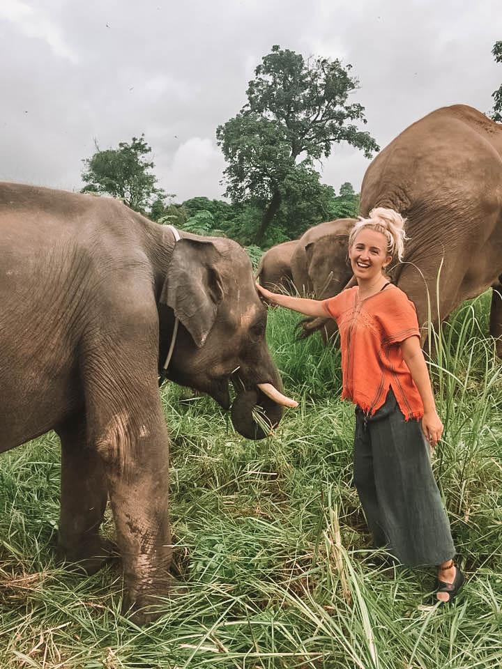 A woman petting an elephant at a save and rescue center in Chiang Mai