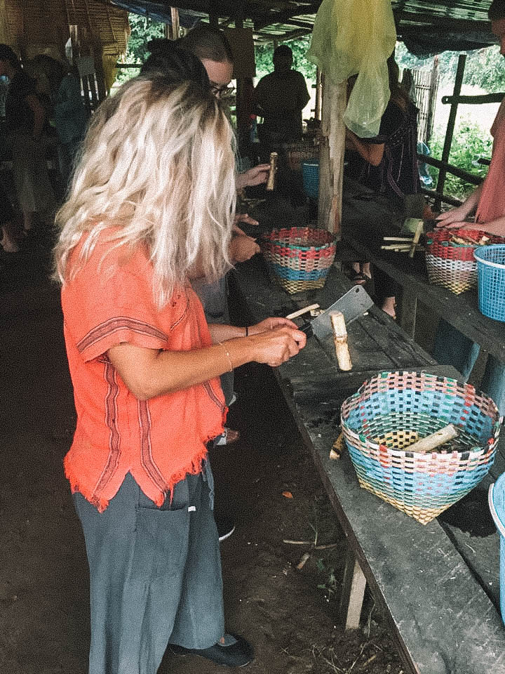 A woman preparing food for elephants