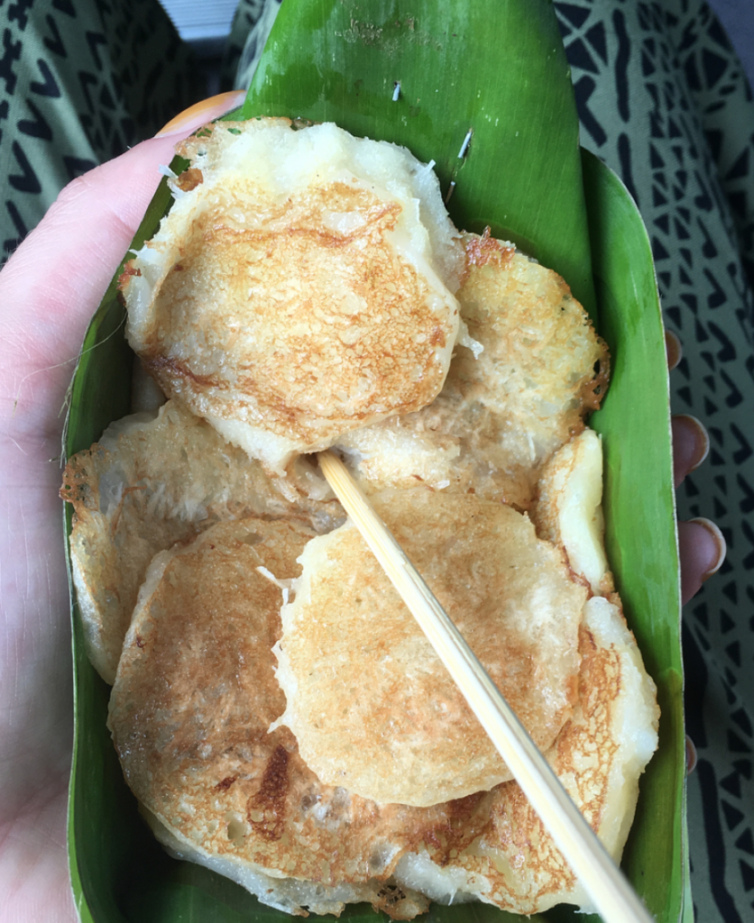 Coconut and banana pancakes at the Thai floating market