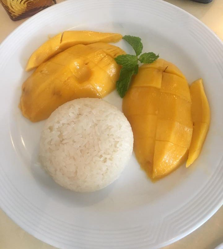 Mango sticky rice dessert from Bangkok