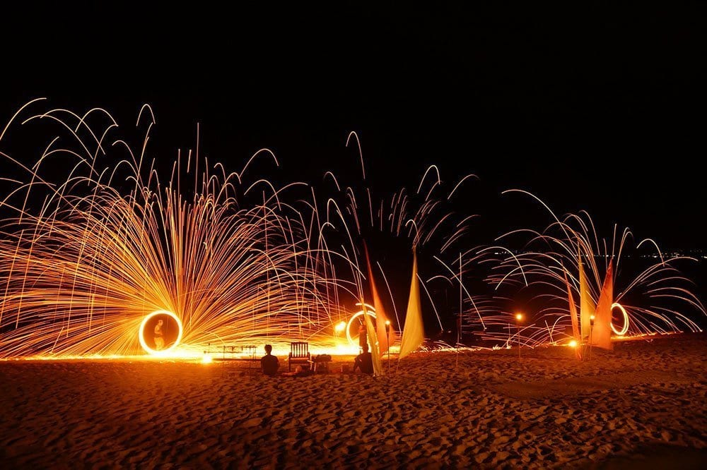 A fire show on the beach in Koh Samet, Thailand
