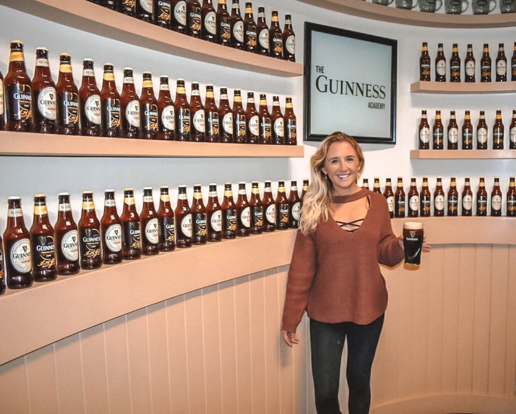 A woman having fun at the Guinness Academy