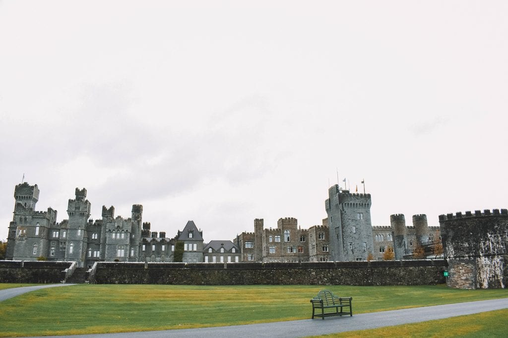 A beautiful view of Ashford Castle on a rainy day