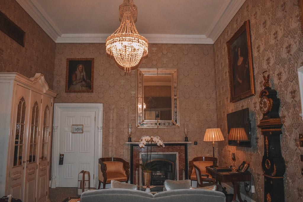 A luxurious hotel room in Ashford Castle