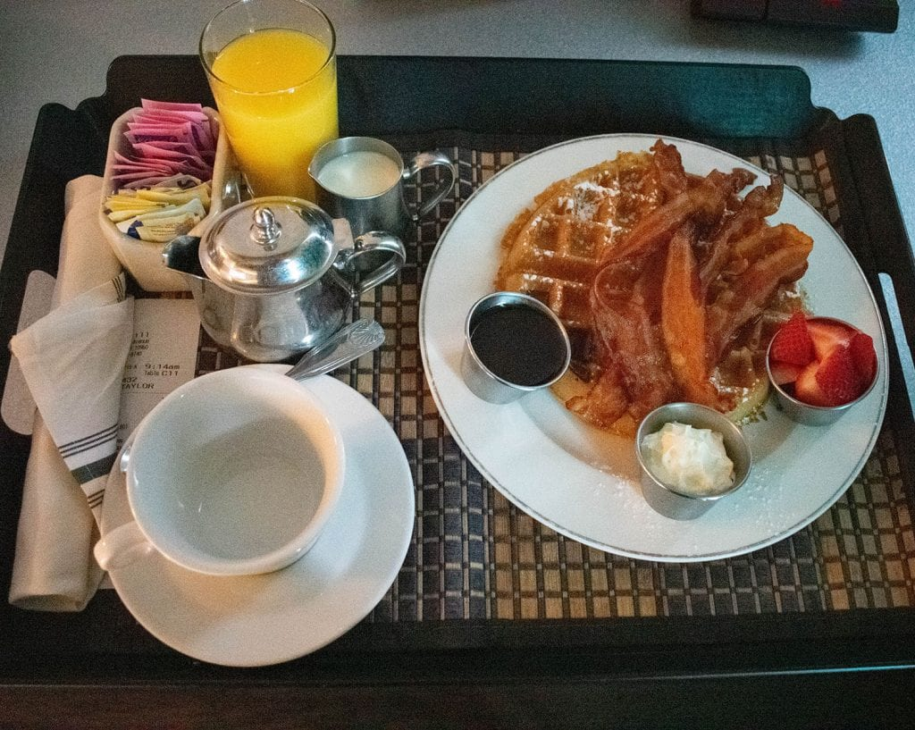 Room service breakfast at The Time Hotel in the Hudson Valley, New York