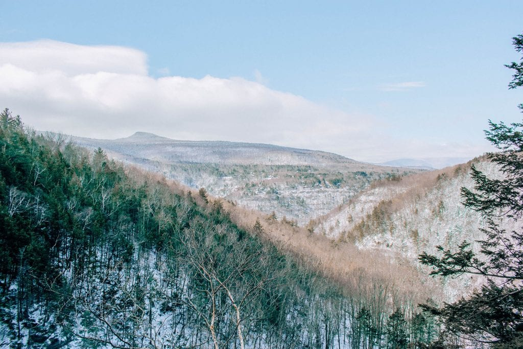 The beautiful snow filled mountains of the Catskills