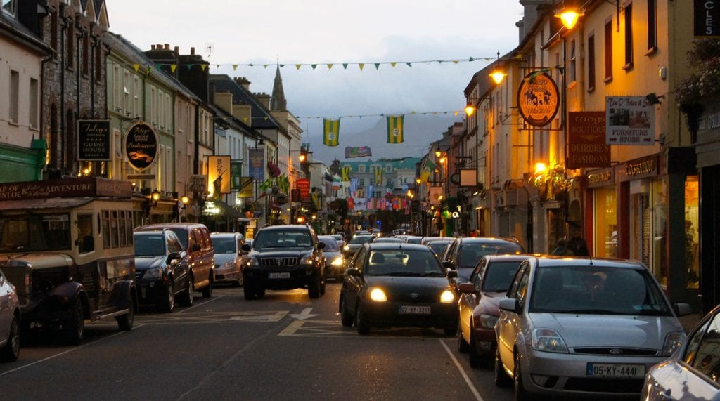 Downtown Killarney, Ireland in the evening
