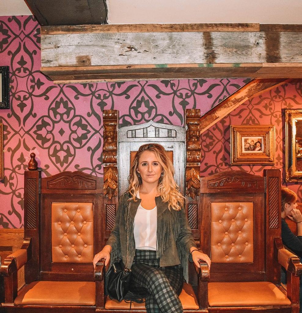 A woman sitting in a pub in Galway, Ireland