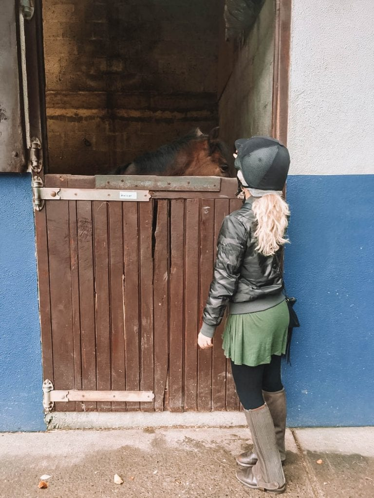 A woman petting a horse in Ireland