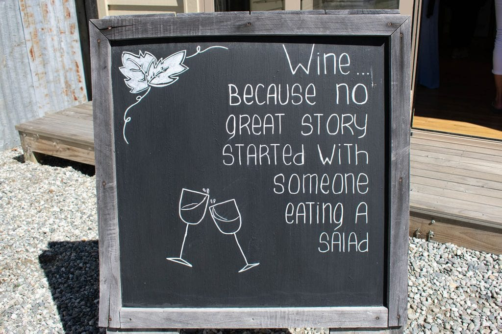 A fun wine board at a winery