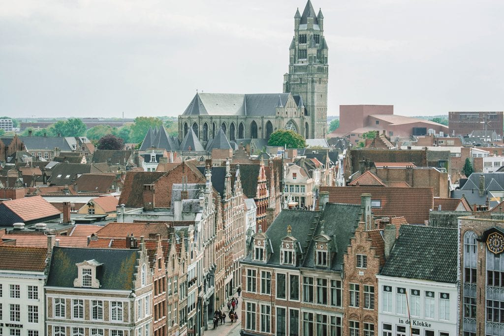 The Belgian city of Brugge during a sunny day trip from Amsterdam