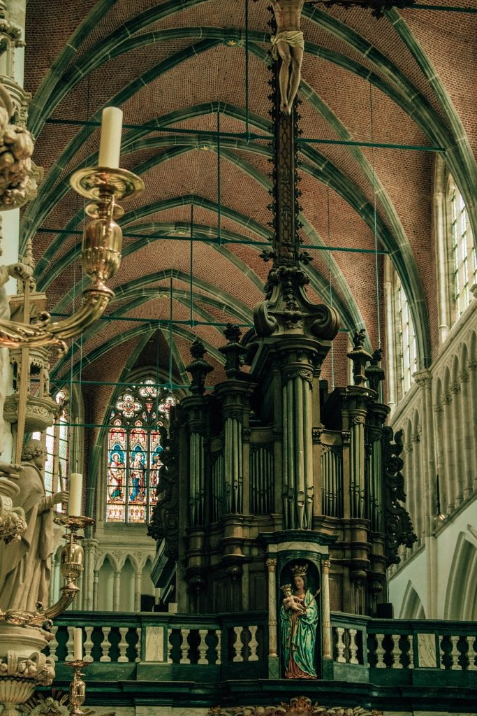 Inside of a Catholic church in Bruges