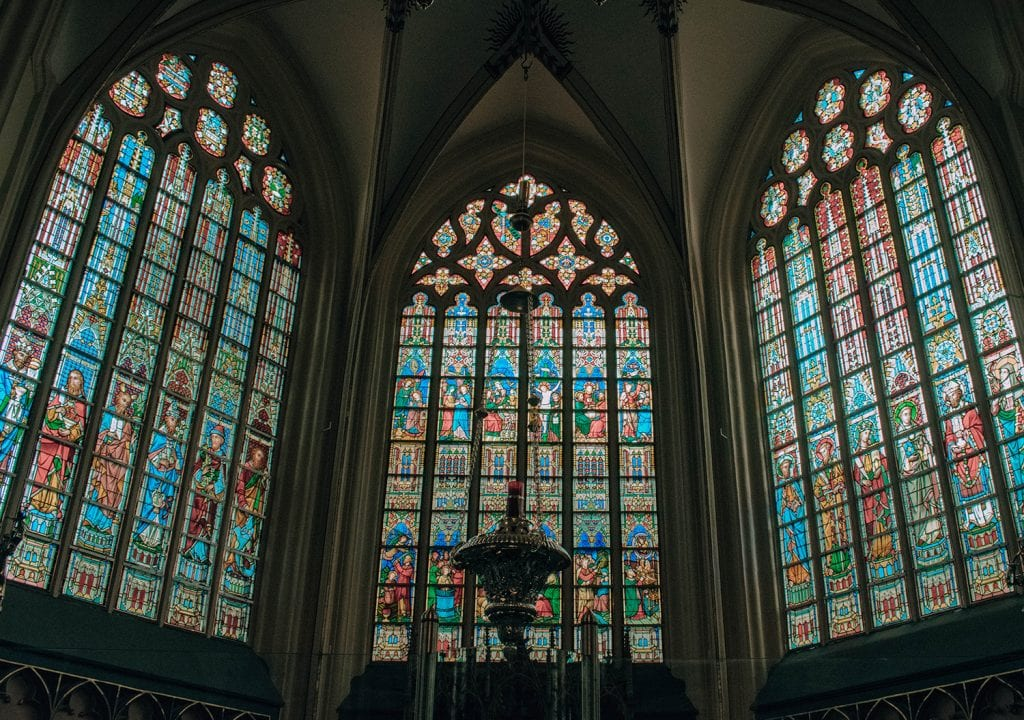 Stained glass windows in a church in Brugge
