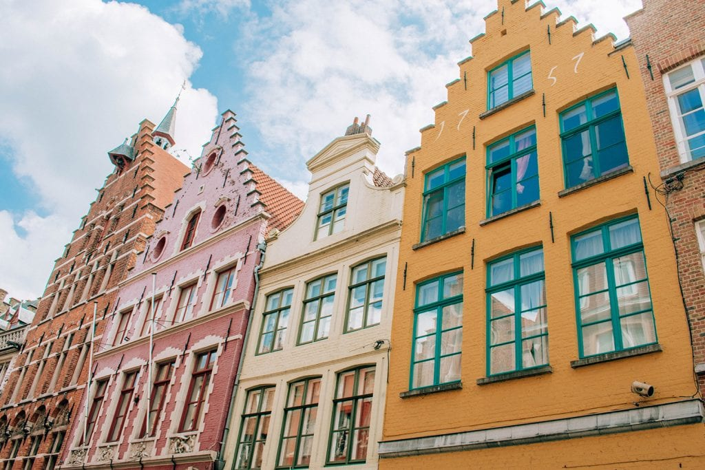 Colorful buildings in the city of Bruges, Belgium