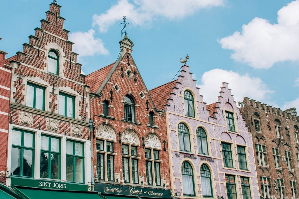 Colorful buildings in the Markt of Bruges