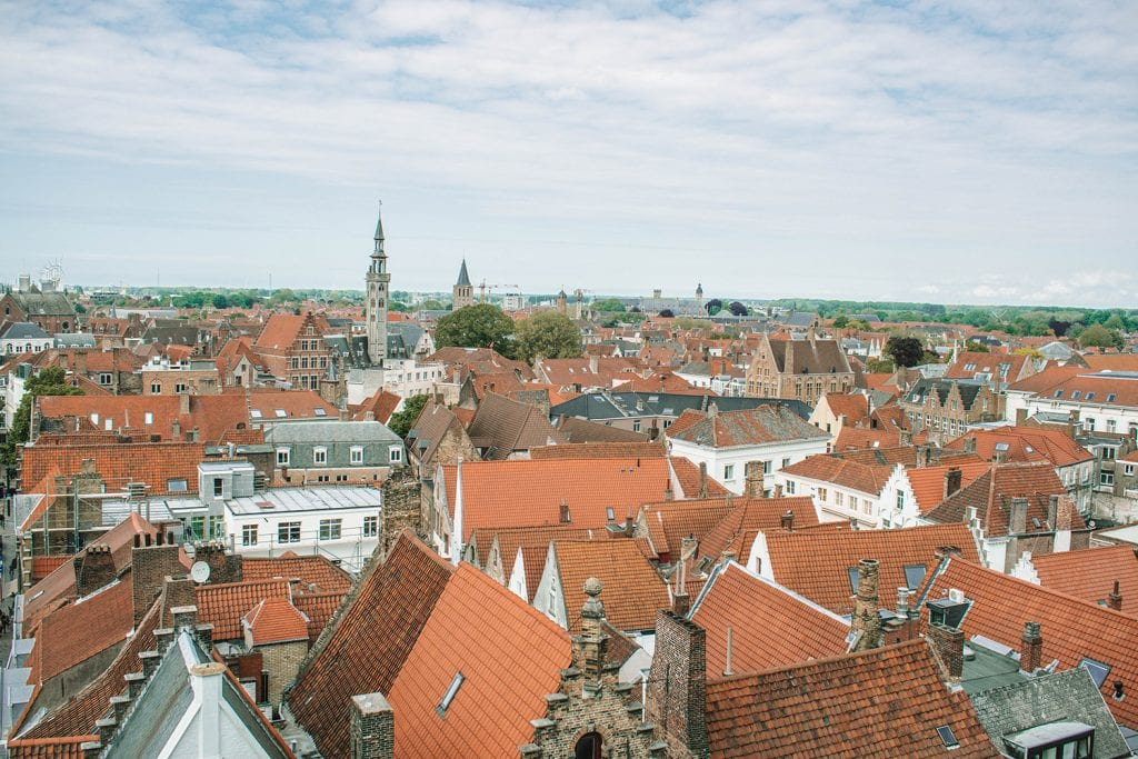 Beautiful views of Bruges from a tower