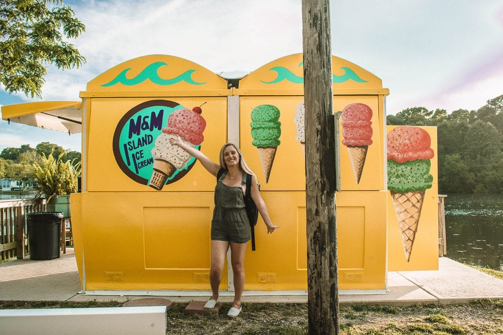 A happy woman in front of an ice cream truck