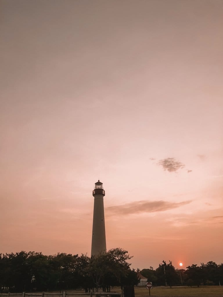 The Cape May Lighthouse during sunset