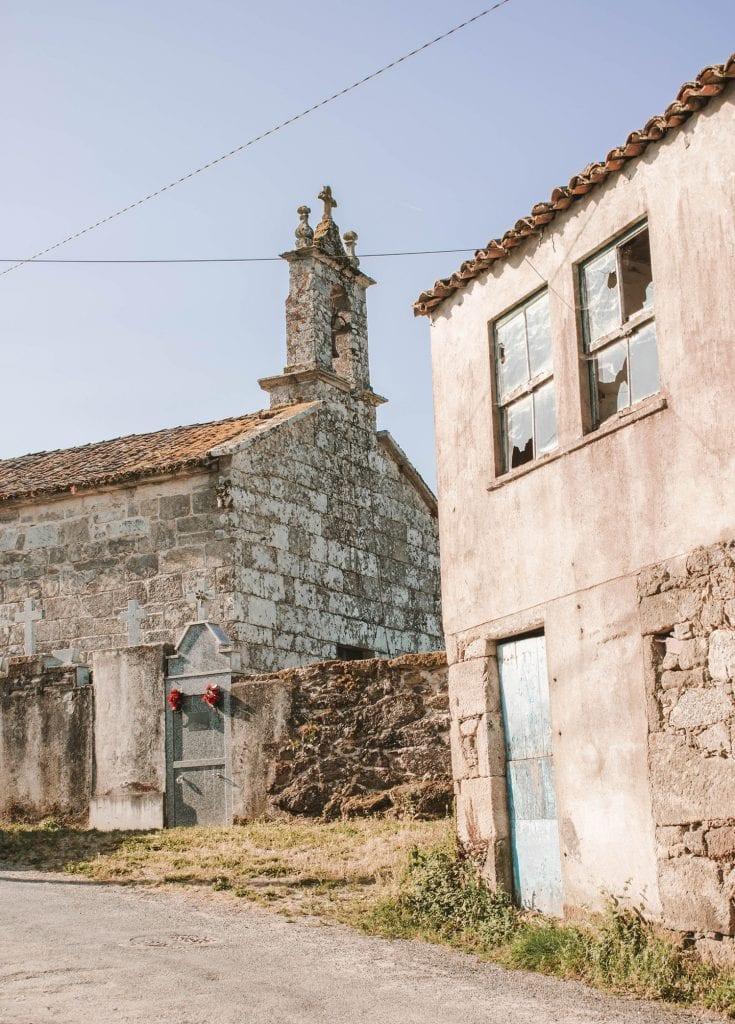 Old buildings in Melide, Spain
