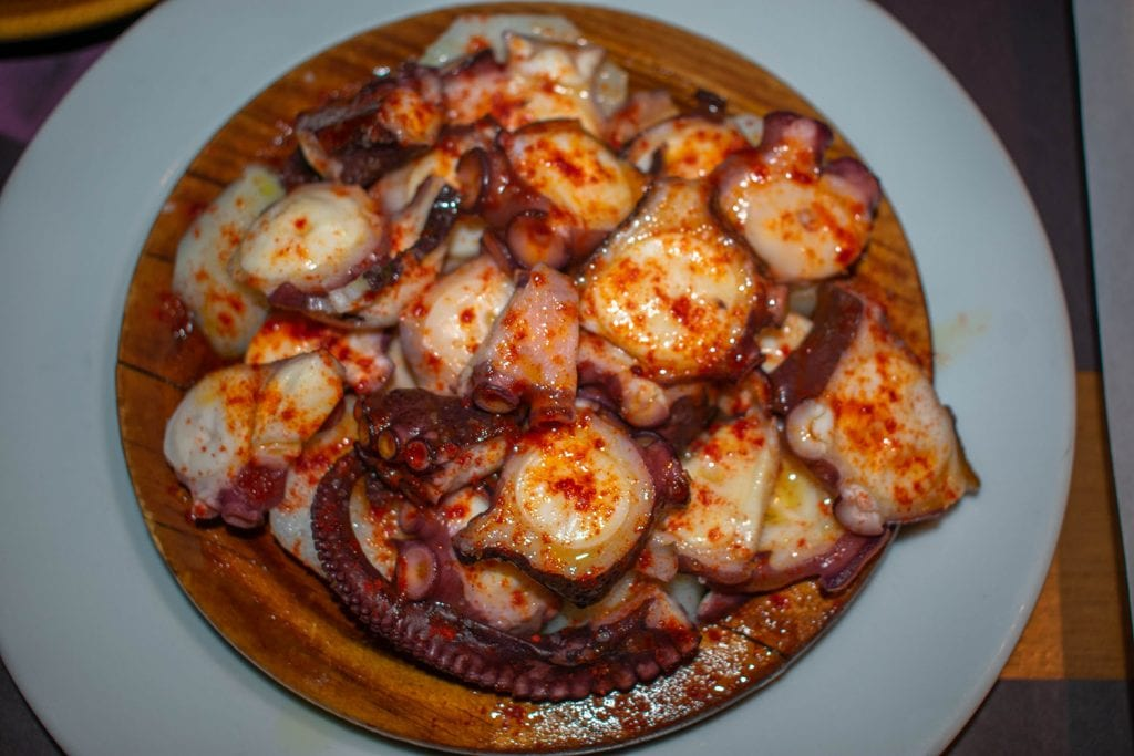 An octopus dish from Galicia, Spain
